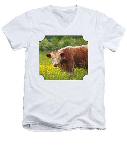 Buttercup - Brown Cow Men's V-Neck T-Shirt
