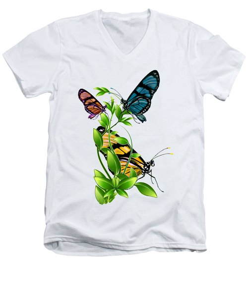 Butterflies On Leaves Men's V-Neck T-Shirt