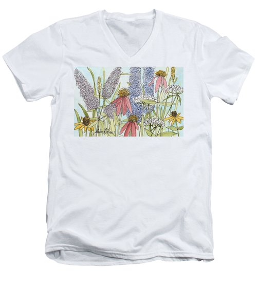 Men's V-Neck T-Shirt featuring the painting Butterfly Bush In Garden by Laurie Rohner