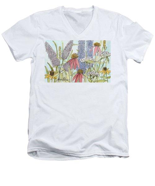 Butterfly Bush In Garden Men's V-Neck T-Shirt