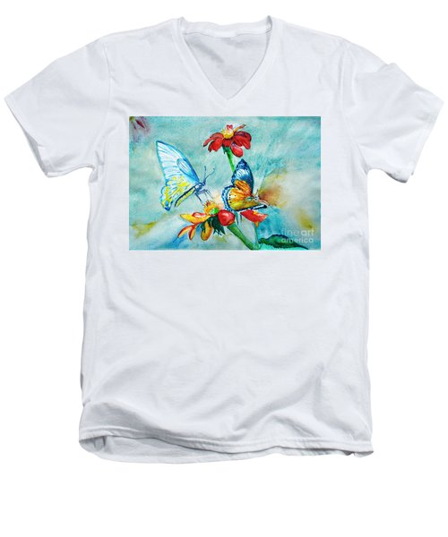 Men's V-Neck T-Shirt featuring the painting Butterfly Dance by Jasna Dragun