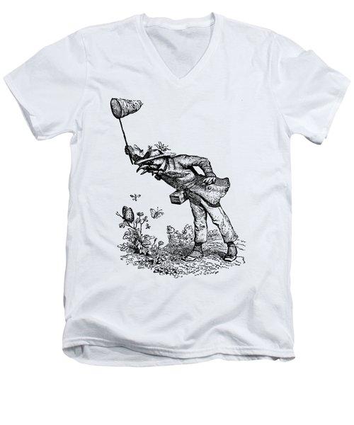 Butterfly Hunting Grandville Transparent Background Men's V-Neck T-Shirt