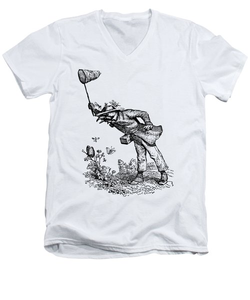 Butterfly Hunting Grandville Transparent Background Men's V-Neck T-Shirt