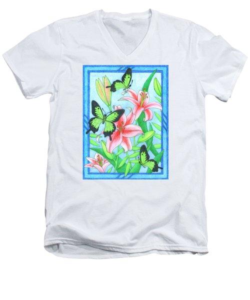 Butterfly Idyll- Lilies Men's V-Neck T-Shirt