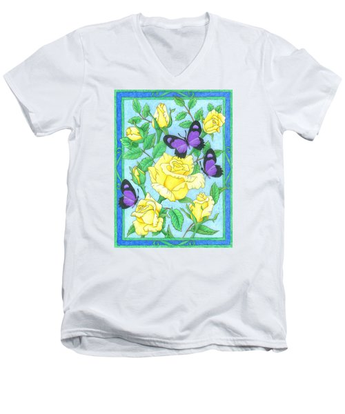 Butterfly Idyll-roses Men's V-Neck T-Shirt