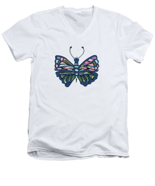 Butterfly In Blue Men's V-Neck T-Shirt by Kathleen Sartoris