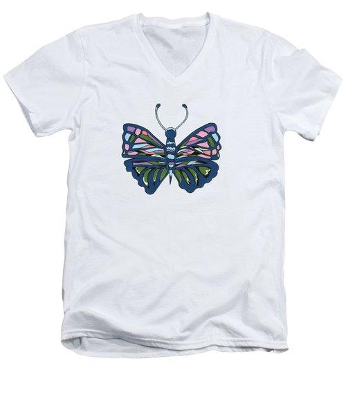 Butterfly In Blue Men's V-Neck T-Shirt