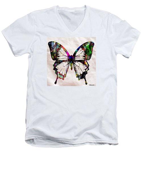 Butterfly Rainbow Men's V-Neck T-Shirt