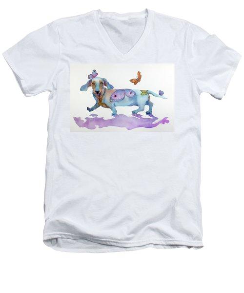 Butterfly Doxie Doo Men's V-Neck T-Shirt by Marcia Baldwin