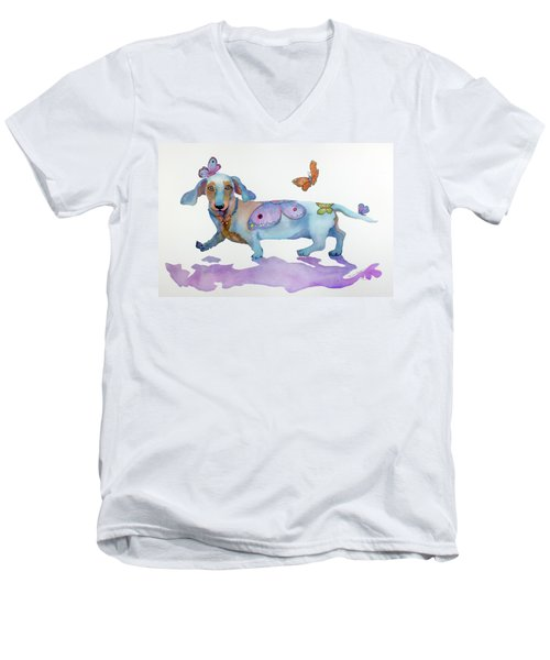 Butterfly Doxie Doo Men's V-Neck T-Shirt