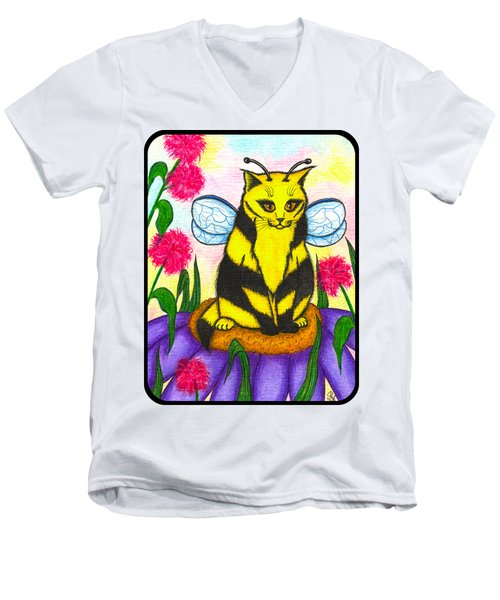 Buzz Bumble Bee Fairy Cat Men's V-Neck T-Shirt