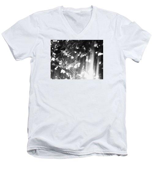 Men's V-Neck T-Shirt featuring the photograph Bw Gossamer Glow by Megan Dirsa-DuBois