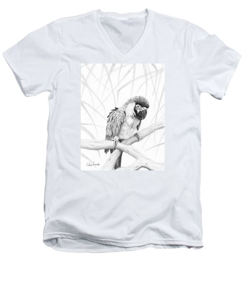 Bw Parrot Men's V-Neck T-Shirt by Phyllis Howard