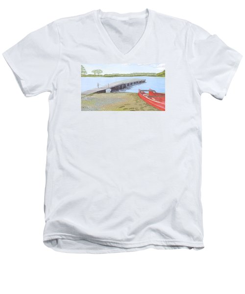 By The Lake Men's V-Neck T-Shirt by Joanne Perkins