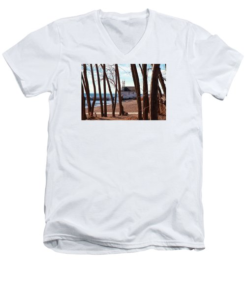 Men's V-Neck T-Shirt featuring the photograph By The Lake by Valentino Visentini