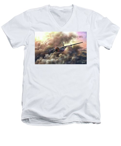 Men's V-Neck T-Shirt featuring the painting C-130 Hercules by Dave Luebbert