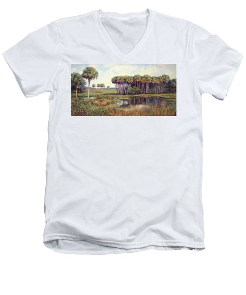 Cabbage Palm Hammock Men's V-Neck T-Shirt by Laurie Hein