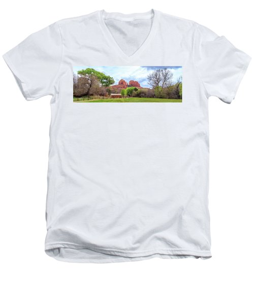Men's V-Neck T-Shirt featuring the photograph Cabin At Cathedral Rock Panorama by James Eddy