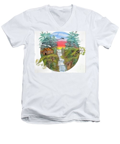 Cabin By The Falls Men's V-Neck T-Shirt
