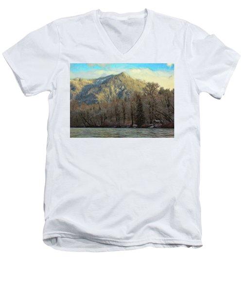 Cabin On The Skagit River Men's V-Neck T-Shirt