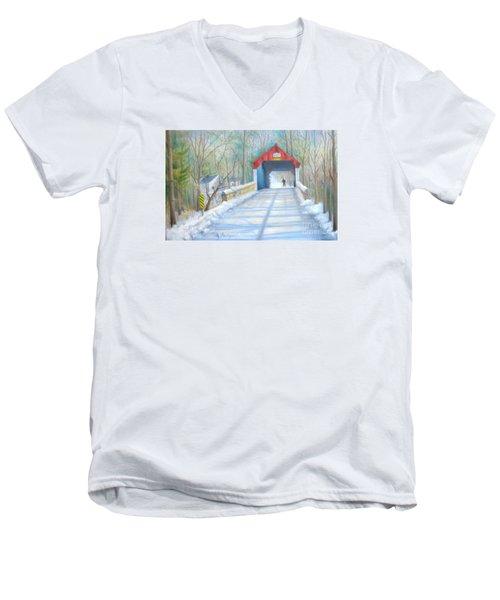 Cabin Run Bridge In Winter Men's V-Neck T-Shirt by Oz Freedgood