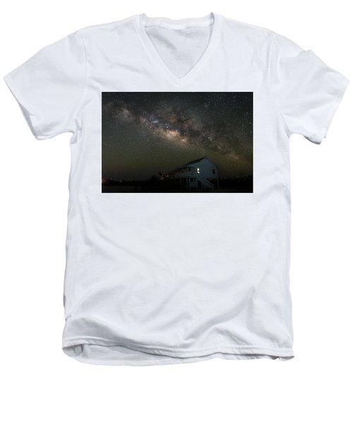 Cabin Under The Milky Way Men's V-Neck T-Shirt