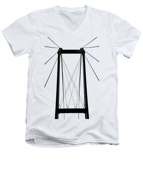 Cable Bridge Abstract Men's V-Neck T-Shirt by Debbie Oppermann