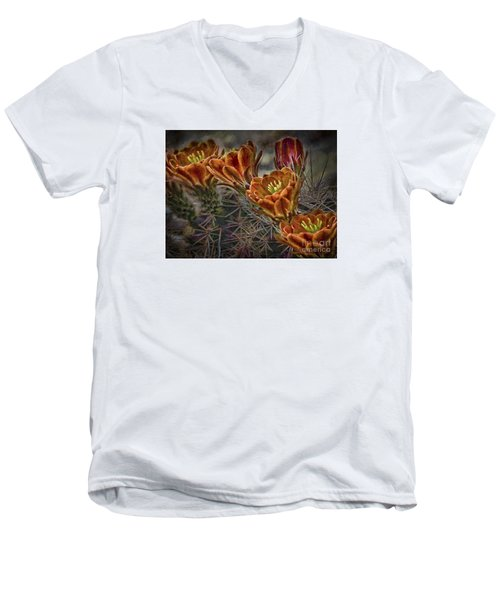 Men's V-Neck T-Shirt featuring the photograph Cactus Flowers  ... by Chuck Caramella