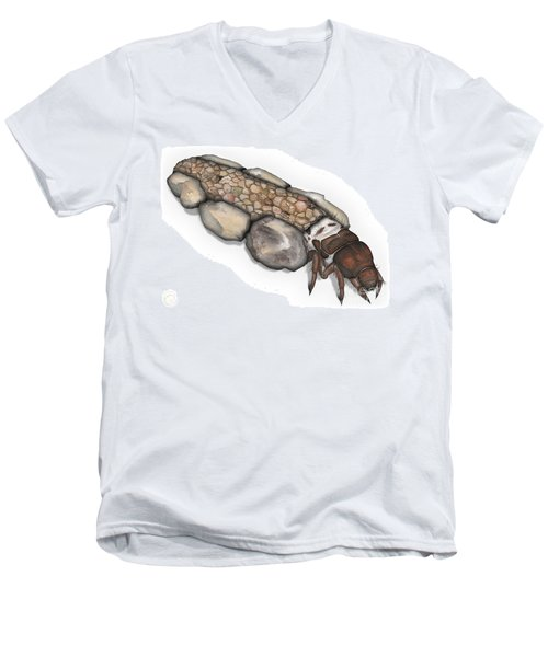 Caddisfly Larva Nymph Goeridae_silo_pallipes -  Men's V-Neck T-Shirt