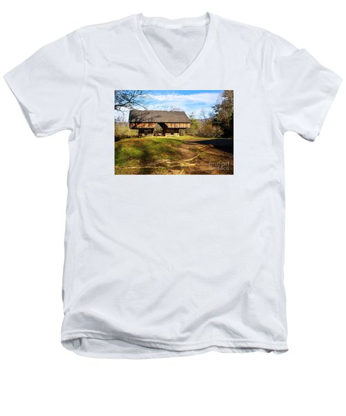 Cades Cover Cantilevered Barn Men's V-Neck T-Shirt by Marilyn Carlyle Greiner