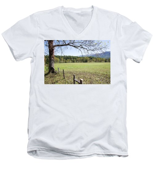 Cades Fence Men's V-Neck T-Shirt by Ricky Dean