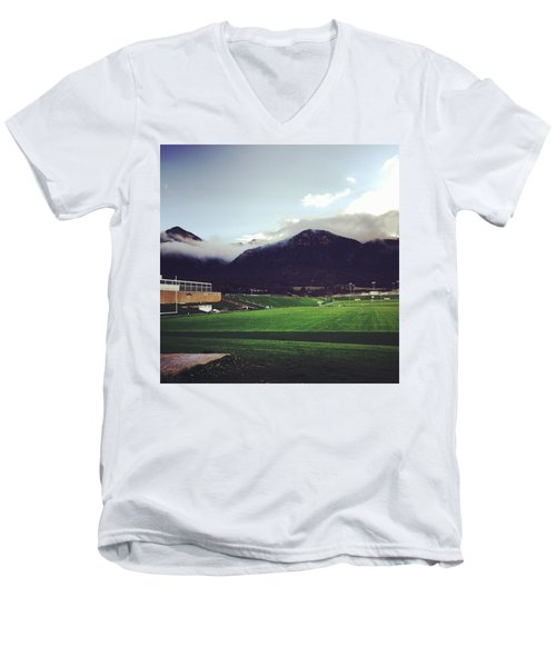 Men's V-Neck T-Shirt featuring the photograph Cadet Athletic Fields by Christin Brodie