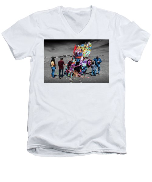 Men's V-Neck T-Shirt featuring the photograph Cadillac Ranch Spray Paint Fun Along Historic Route 66 By Amarillo Texas by Randall Nyhof