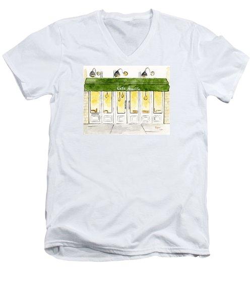 Cafe' Amrita  Men's V-Neck T-Shirt by AFineLyne
