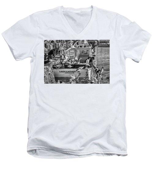Cafe Lady Catherine Black And White Men's V-Neck T-Shirt
