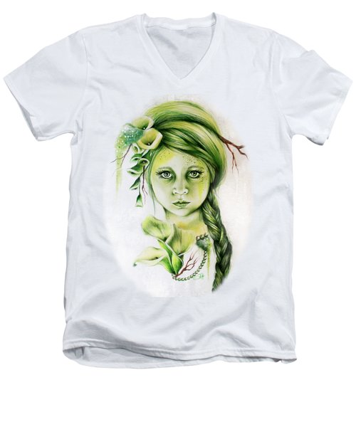 Men's V-Neck T-Shirt featuring the drawing Cala by Sheena Pike