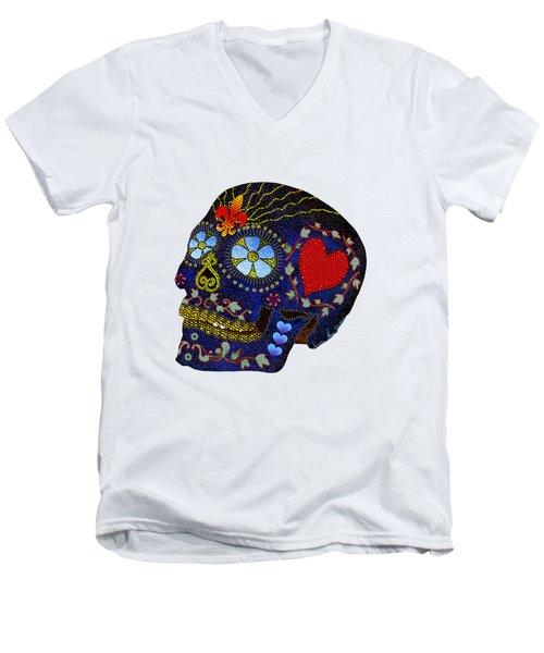 Calavera Del Azucar Men's V-Neck T-Shirt by Iowan Stone-Flowers