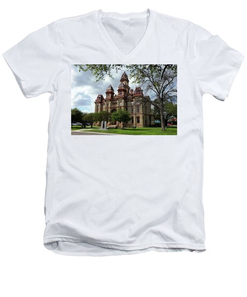 Men's V-Neck T-Shirt featuring the photograph Caldwell County Courthouse by Ricardo J Ruiz de Porras