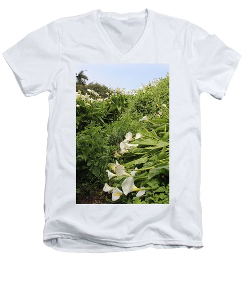 Men's V-Neck T-Shirt featuring the photograph Cali Can You Hear Me by Marie Neder