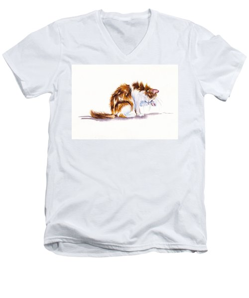 Calico Cat Washing Men's V-Neck T-Shirt