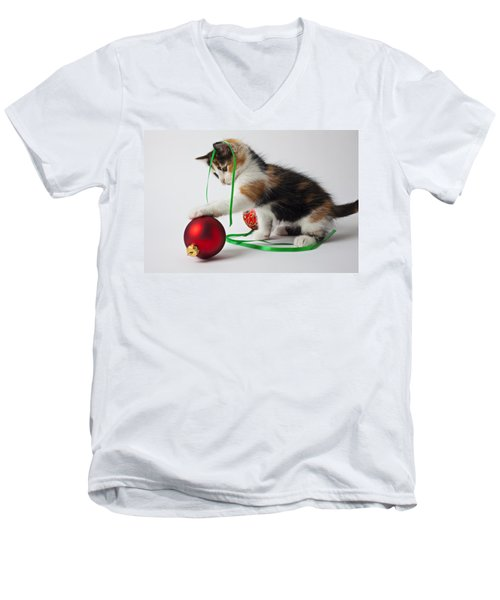 Calico Kitten And Christmas Ornaments Men's V-Neck T-Shirt