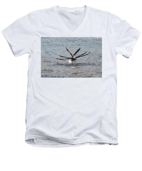 California Brown Pelicans Flying In Tandem Men's V-Neck T-Shirt