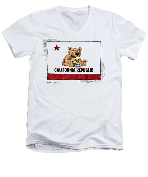 California Budget Begging Men's V-Neck T-Shirt