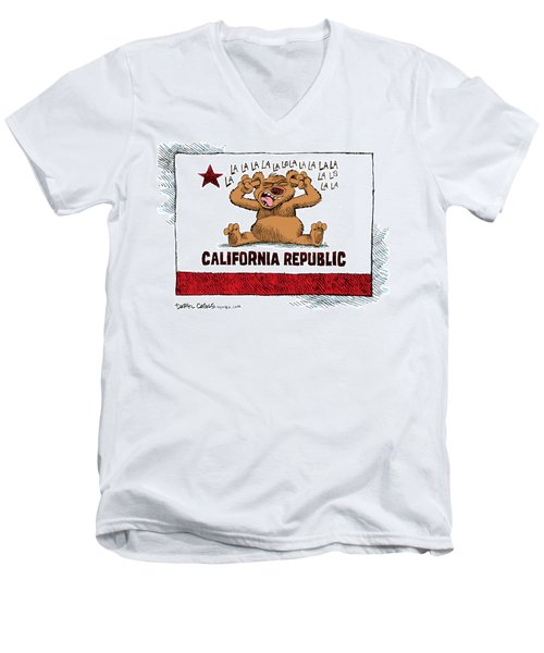 Men's V-Neck T-Shirt featuring the drawing California Budget La La La by Daryl Cagle