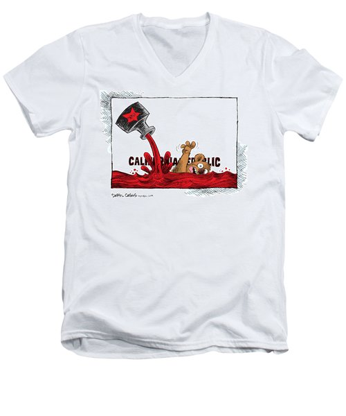 Men's V-Neck T-Shirt featuring the drawing California Budget Red Ink by Daryl Cagle