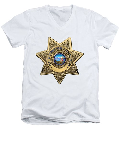 Men's V-Neck T-Shirt featuring the digital art California Department Of Corrections And Rehabilitation - C D C R  Officer Badge Over White Leather by Serge Averbukh
