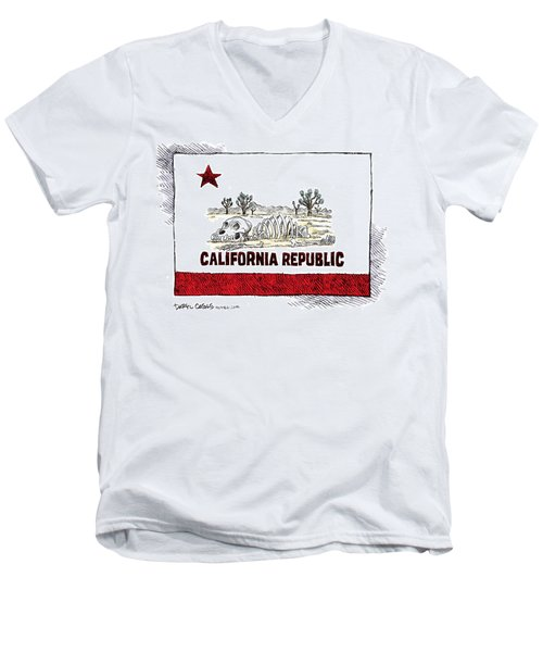 Men's V-Neck T-Shirt featuring the drawing California Drought by Daryl Cagle