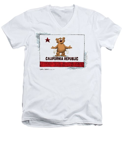 Men's V-Neck T-Shirt featuring the drawing California Empty Pockets by Daryl Cagle