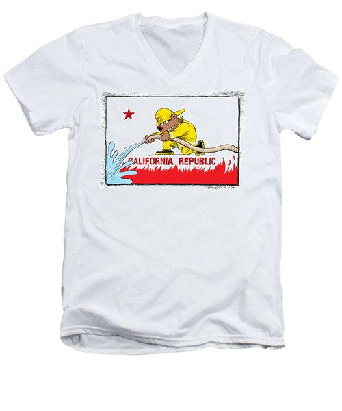 Men's V-Neck T-Shirt featuring the drawing California Firefighter Flag by Daryl Cagle