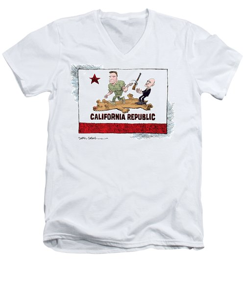 Men's V-Neck T-Shirt featuring the drawing California Governor Handoff by Daryl Cagle